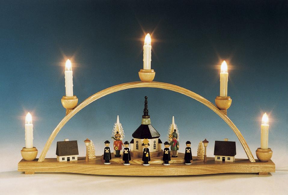 schwibbogen seiffener kirche mit laternenkinder bunt erzgebirgskunst drechsel. Black Bedroom Furniture Sets. Home Design Ideas