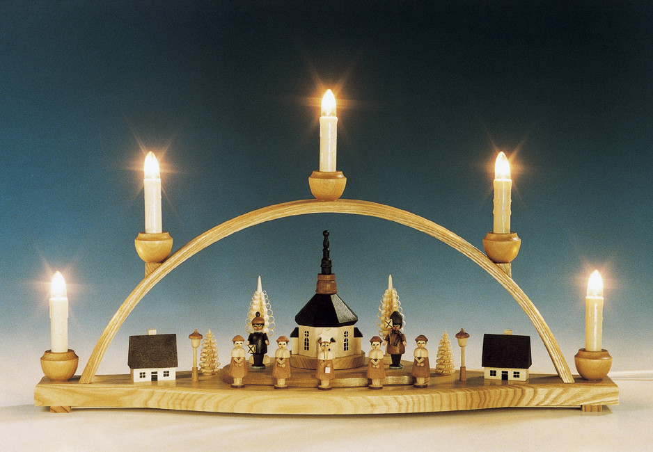 schwibbogen seiffener kirche mit laternenkinder natur erzgebirgskunst drechsel. Black Bedroom Furniture Sets. Home Design Ideas
