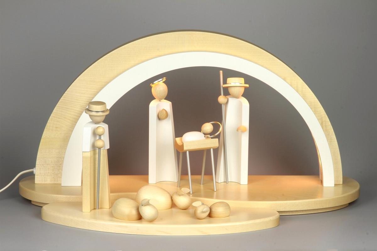 holz design led schwibbogen mit krippefiguren natur led schwibb gen schwibb gen. Black Bedroom Furniture Sets. Home Design Ideas
