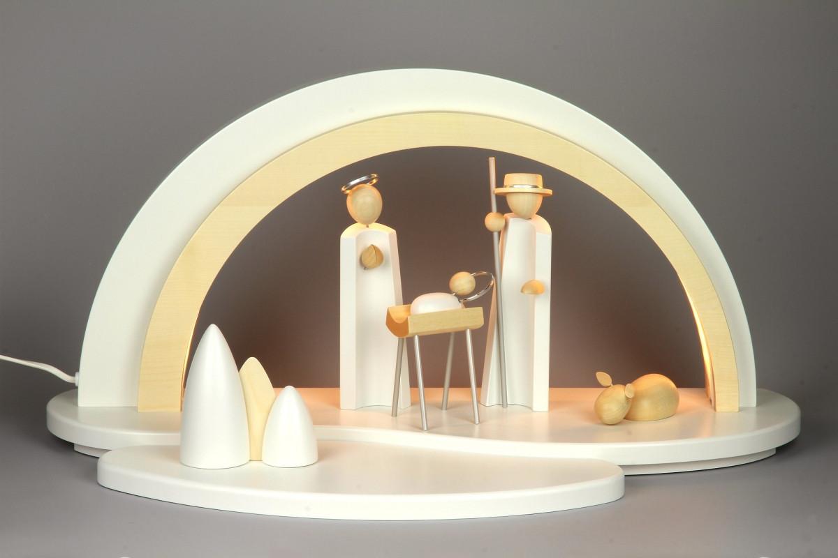 holz design led schwibbogen mit krippefiguren wei erzgebirgskunst drechsel. Black Bedroom Furniture Sets. Home Design Ideas