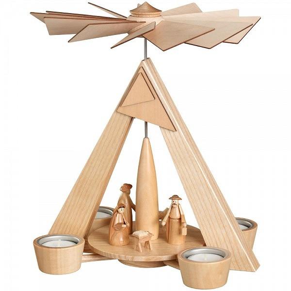 Pyramide mit Christi Geburt Teelichtpyramide modern mehrfarbig natur Erzgebirge