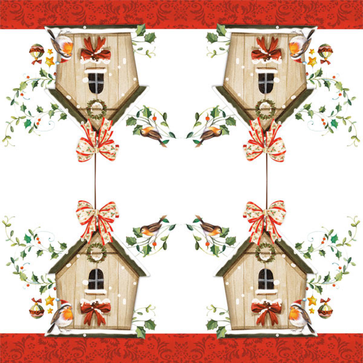 tischservietten vogelhaus im winter erzgebirgskunst drechsel. Black Bedroom Furniture Sets. Home Design Ideas