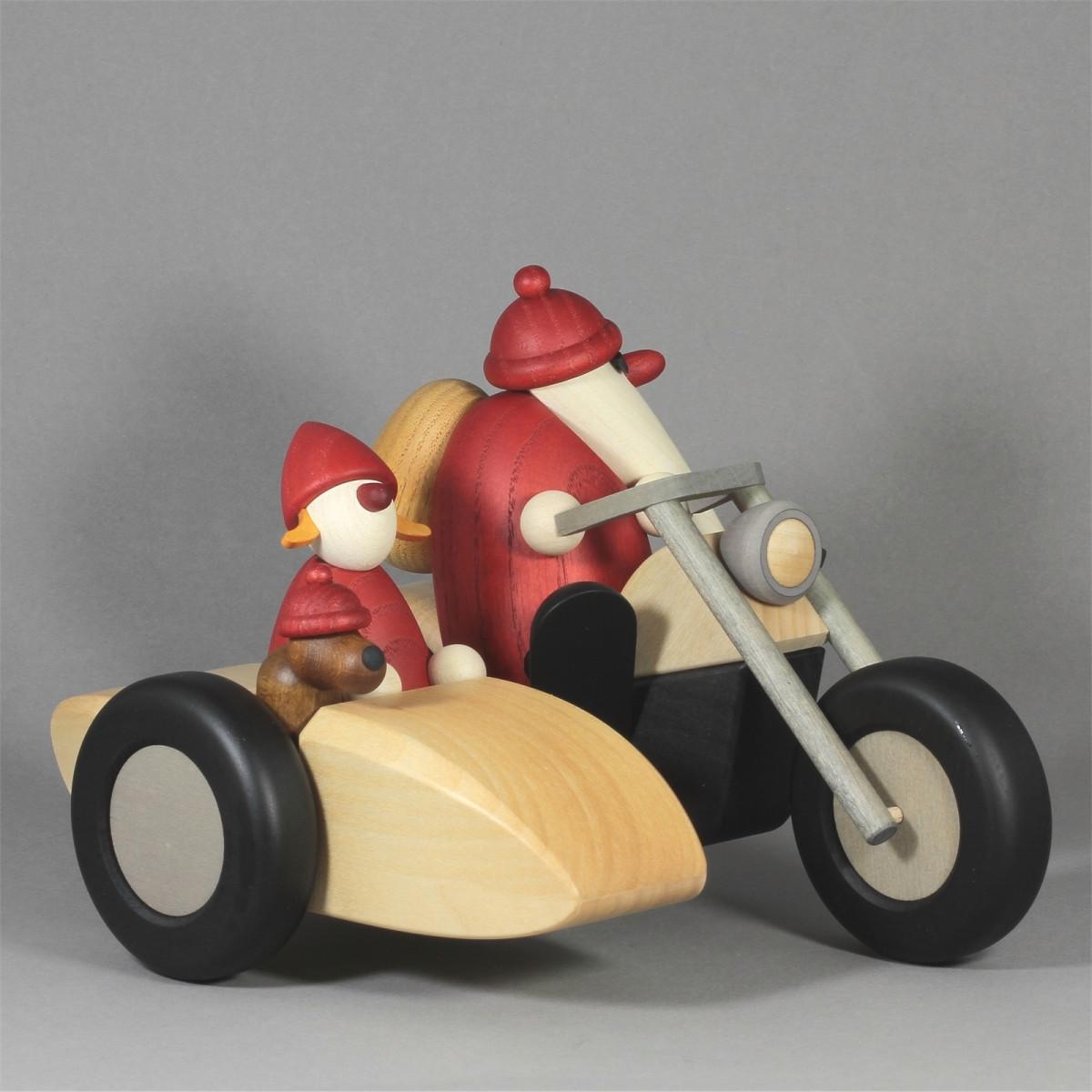 weihnachtsmann familienausflug auf motorrad mit beiwagen. Black Bedroom Furniture Sets. Home Design Ideas