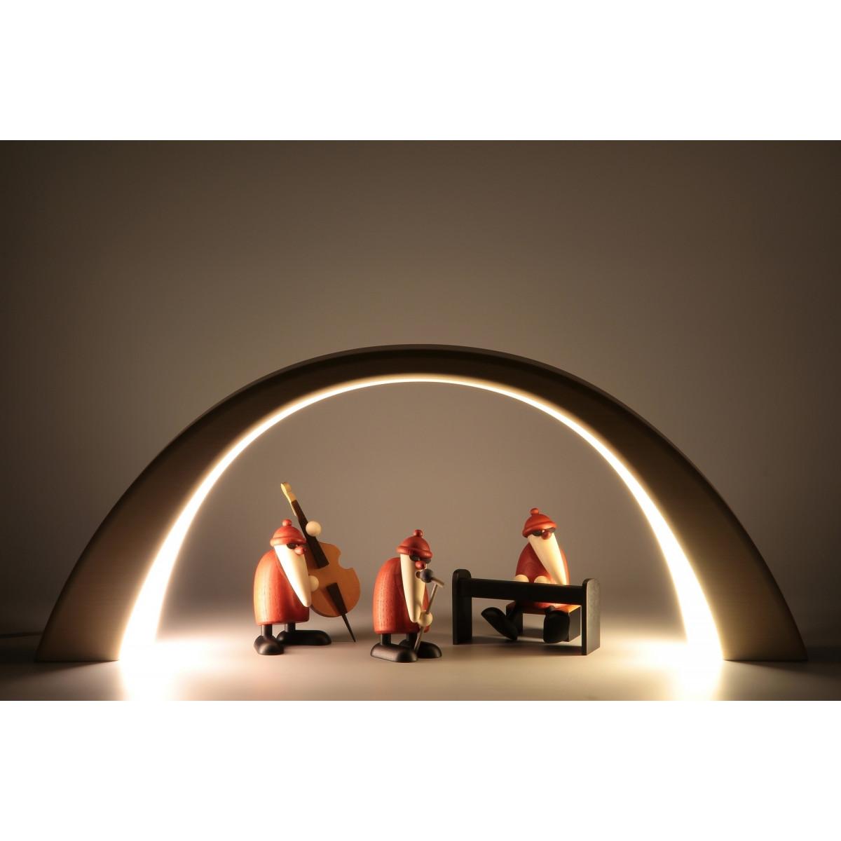 led lichterbogen schwibbogen mit innenbeleuchtung linde natur erzgebirgskunst drechsel. Black Bedroom Furniture Sets. Home Design Ideas
