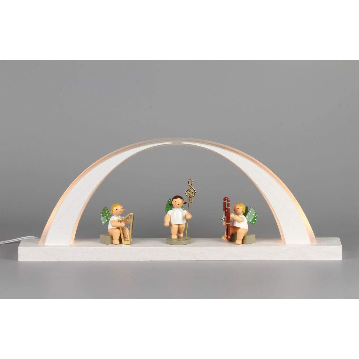 led schwibbogen esche wei mit wendt k hn engeln erzgebirgskunst drechsel. Black Bedroom Furniture Sets. Home Design Ideas