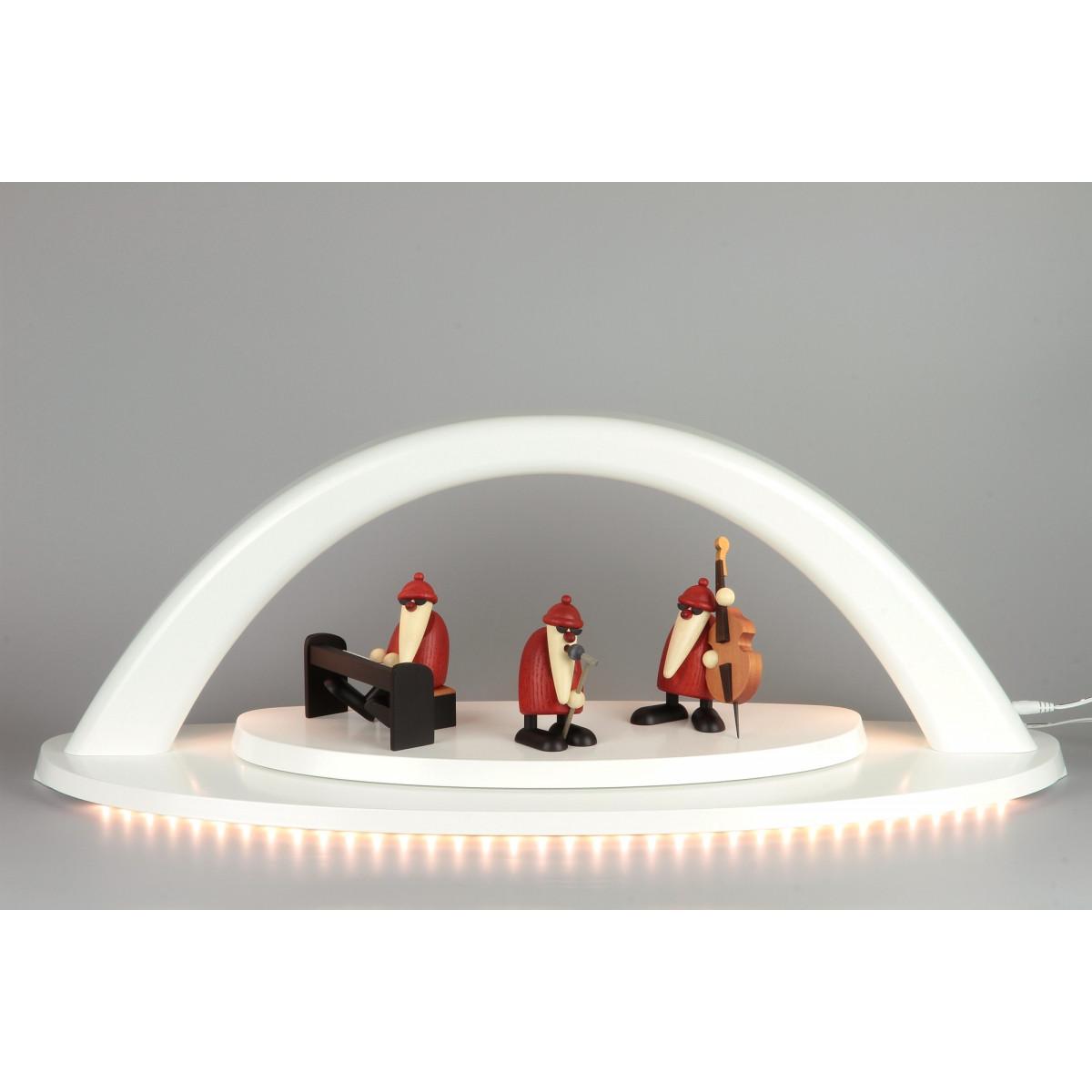 led schwibbogen wei mit bj rn k hler weihnachtsmannband gro erzgebirgskunst drechsel. Black Bedroom Furniture Sets. Home Design Ideas