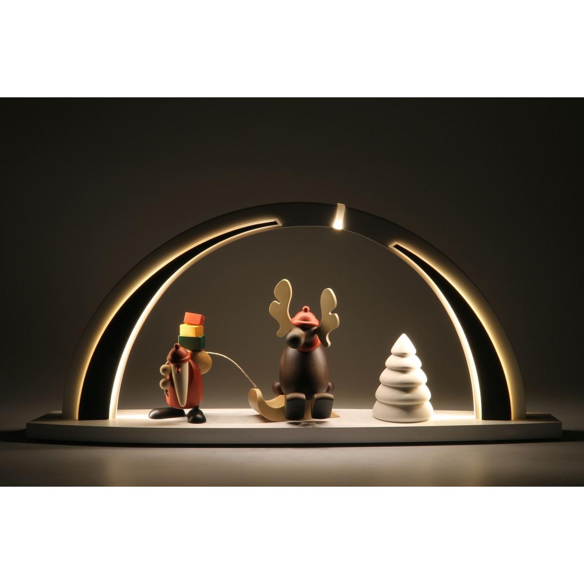 led schwibbogen wei schwarz mit bj rn k hler motiv gro erzgebirgskunst drechsel. Black Bedroom Furniture Sets. Home Design Ideas