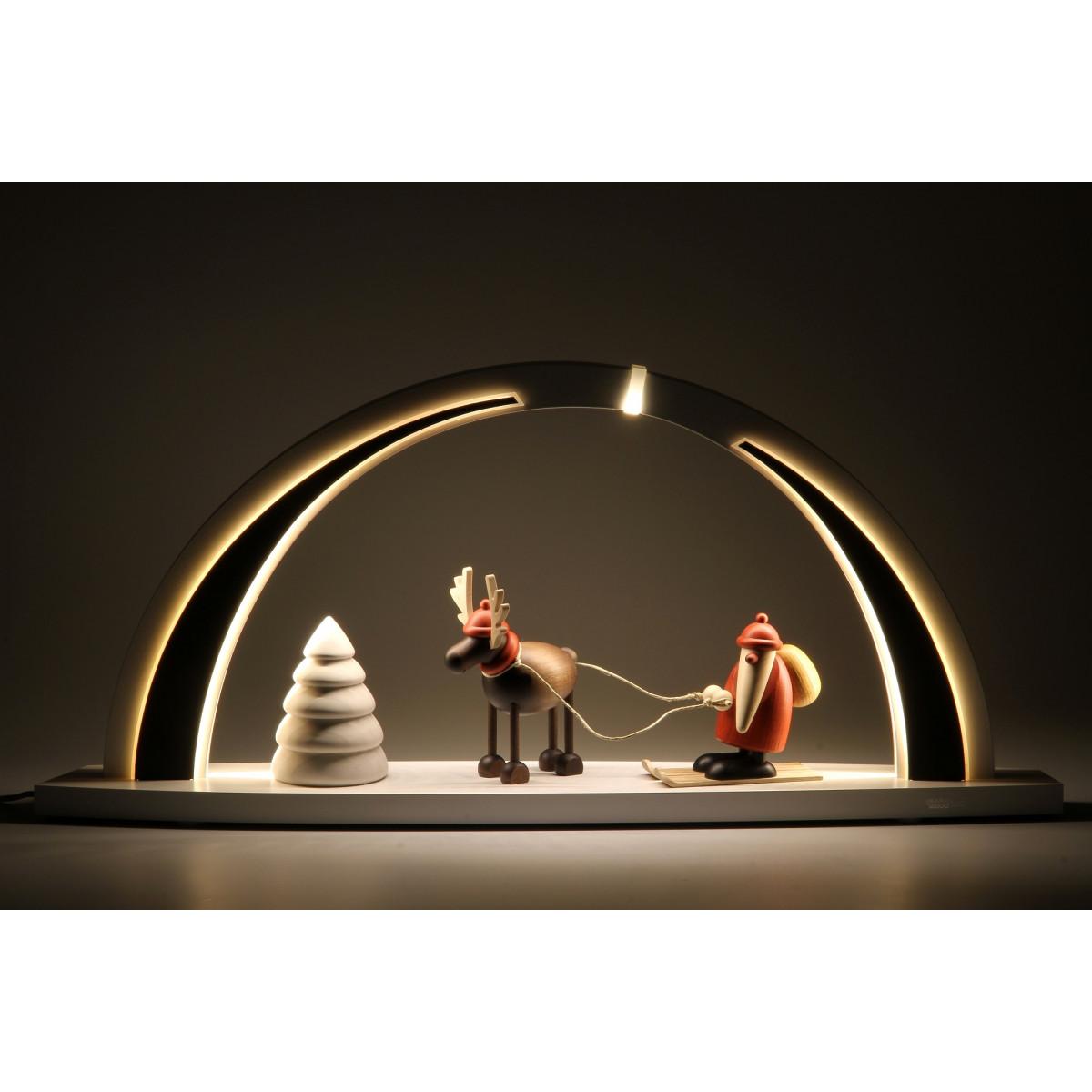 led schwibbogen wei schwarz mit bj rn k hler figuren gro erzgebirgskunst drechsel. Black Bedroom Furniture Sets. Home Design Ideas