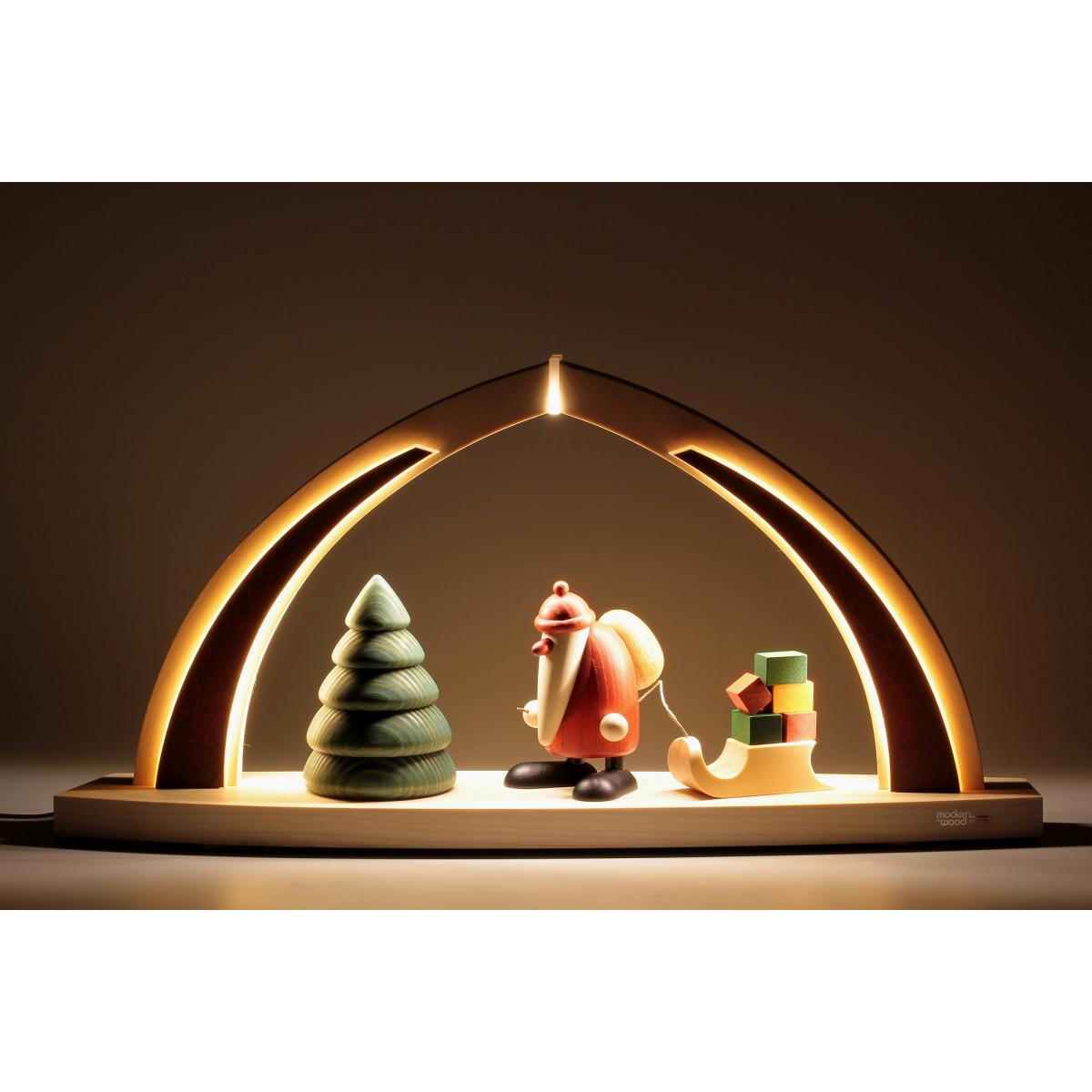 led schwibbogen mit bjoern k hler weihnachtsmann mit geschenkeschlitten erzgebirgskunst drechsel. Black Bedroom Furniture Sets. Home Design Ideas
