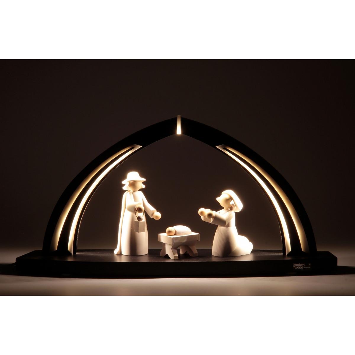 led schwibbogen mit christi geburt figuren erzgebirgskunst drechsel. Black Bedroom Furniture Sets. Home Design Ideas