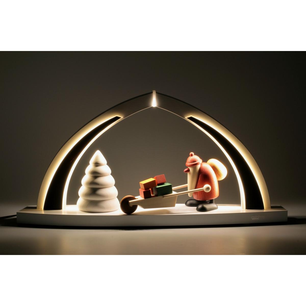 led schwibbogen mit bjoern k hler weihnachtsmann mit geschenken erzgebirgskunst drechsel. Black Bedroom Furniture Sets. Home Design Ideas
