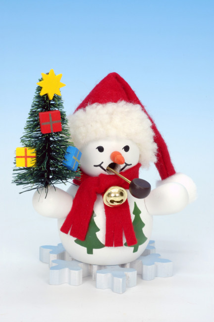 Räuchermännchen Schneemann mit Weihnachtsbaum