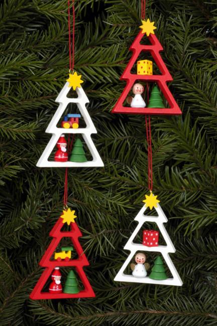 Baumbehang Weihnachtsbäumchen, 4-teilig