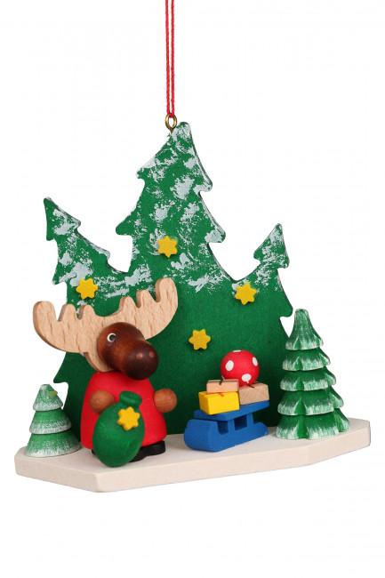 Baumbehang Elch Weihnachtsmann im Wald