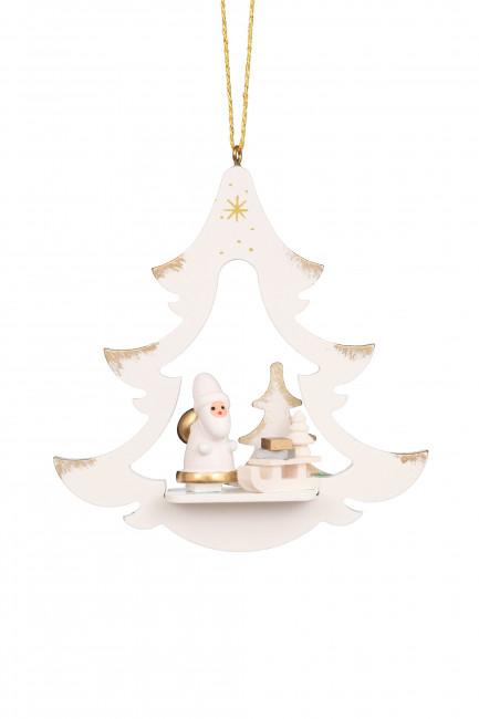 Baumbehang Baum weiß mit Weihnachtsmann