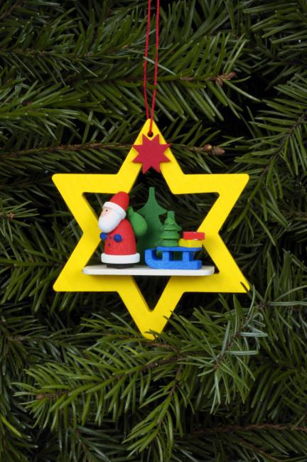 Baumbehang Weihnachtsmann im gelben Stern