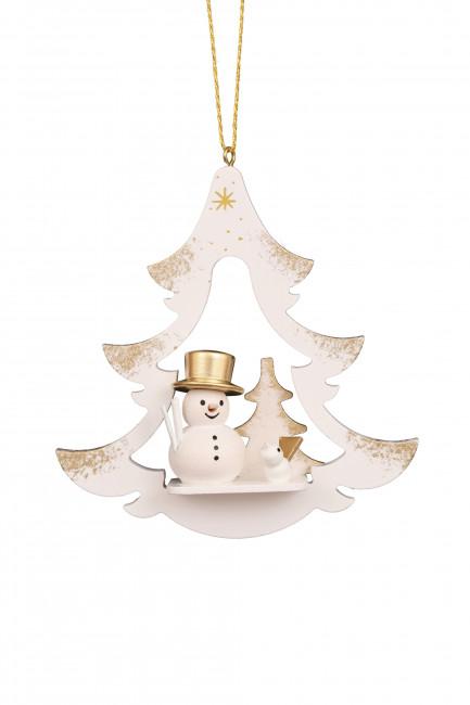 Baumbehang Baum weiß mit Schneemann