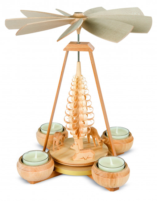 Teelichtpyramide Rehe geschnitzt