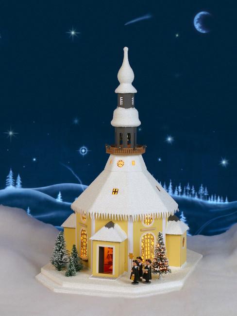 Lichterhaus Seiffener Kirche mit Kurrende und Weihnachtsbaum