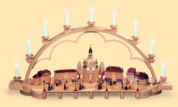 Schwibbogen Alt Dresden groß, natur, 120 Volt