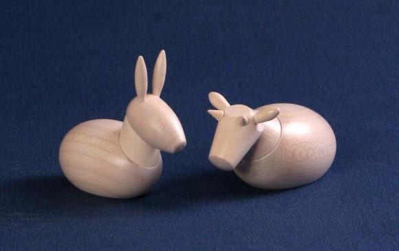Krippenfiguren Ochse & Esel weiß lasiert