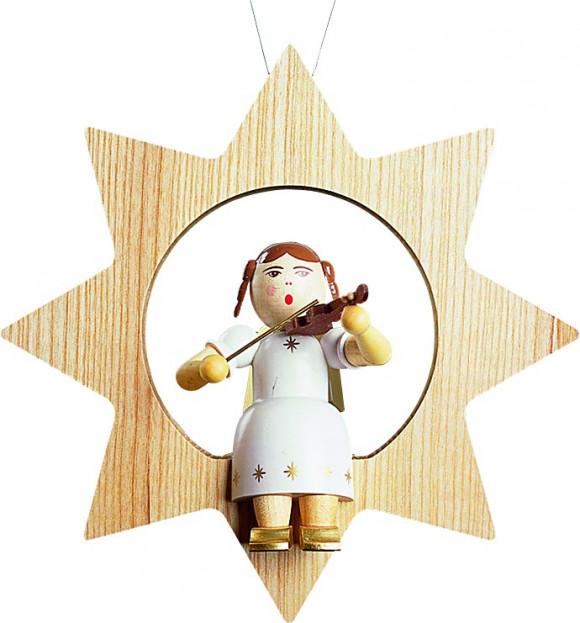Baumbehang Engel mit Geige im Stern, groß
