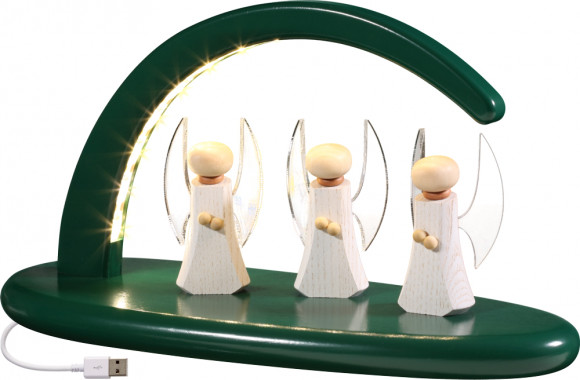 LED-Leuchterbogen mit Engel, grün