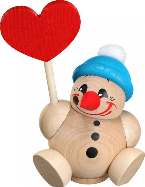 Kugelräucherfigur Cool-Man mit blauer Mütze und Herz