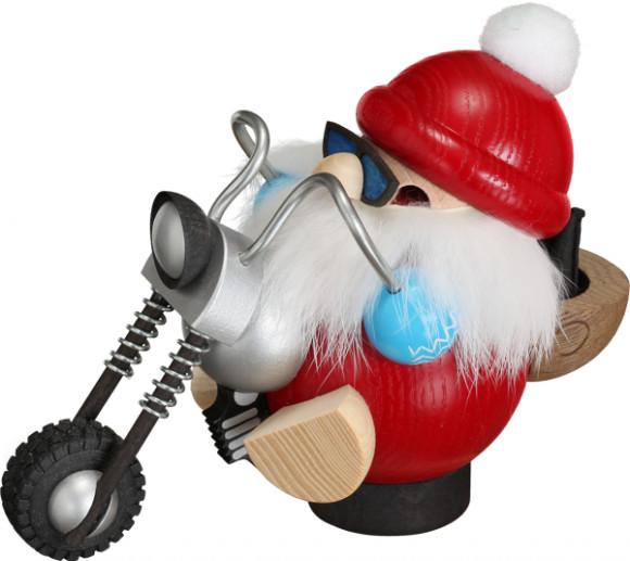 Kugelräuchermännchen Nikolaus fährt Motorrad
