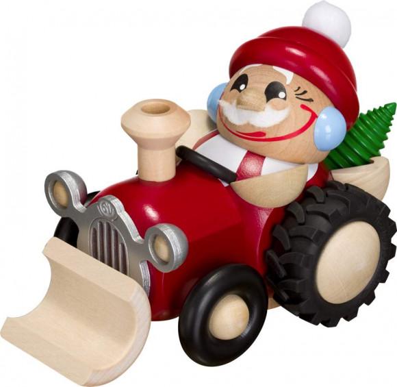 Kugelräuchermann Weihnachtsmann im Traktor Schneepflug