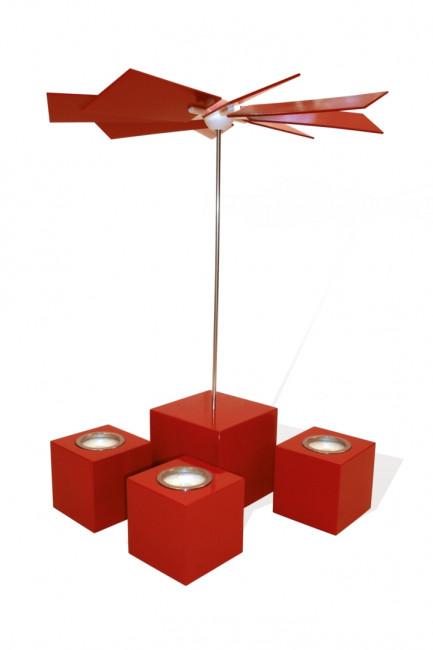 Moderne Würfelpyramide Alea rot