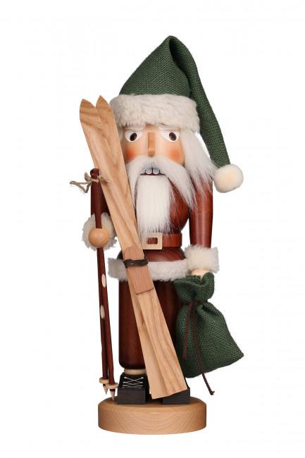 Nussknacker Weihnachtsmann mit Ski, natur