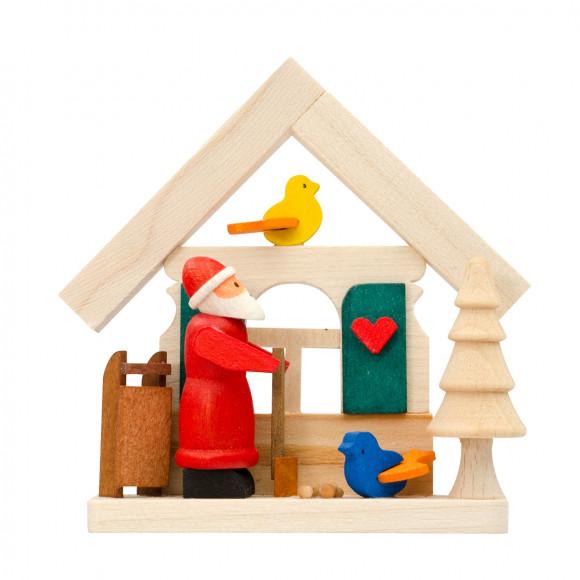 Baumbehang Haus Weihnachtsmann mit Vogelfütterung