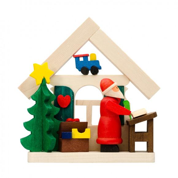 Baumbehang Haus Weihnachtsmann mit Wunschzetteln