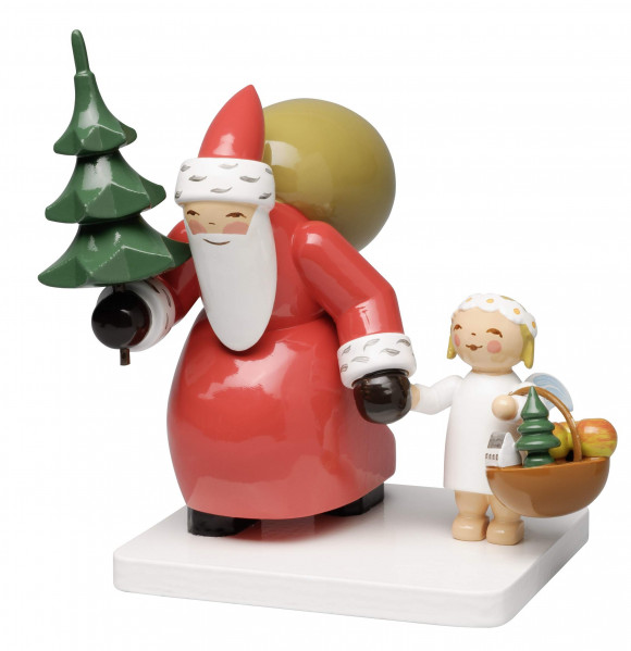 Weihnachtsmann mit Baum und Engel