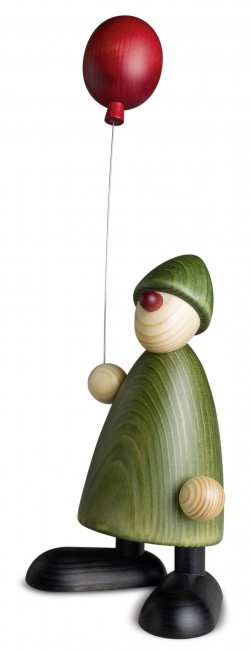 Gratulant Linus mit Luftballon, grün, 17 cm