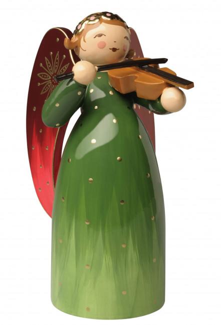Engel mit Violine reich bemalt, grün