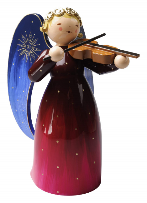Engel mit Violine reich bemalt, rot, groß