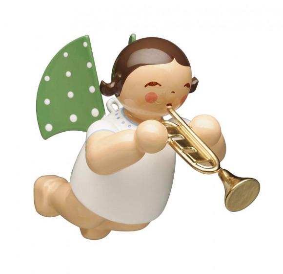 Engel mit Trompete schwebend, braunes Haar