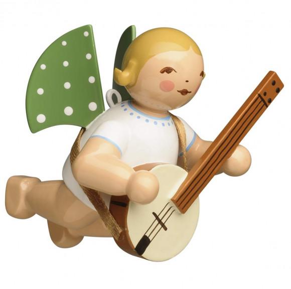 Engel mit Banjo schwebend, braunes Haar