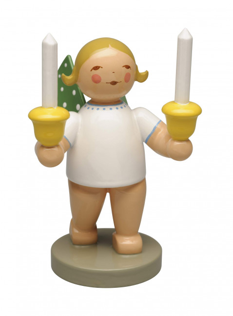 Engel mit zwei Kerzen, blondes Haar