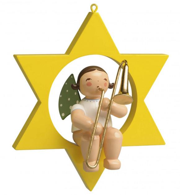 Engel mit Zugposaune im Stern
