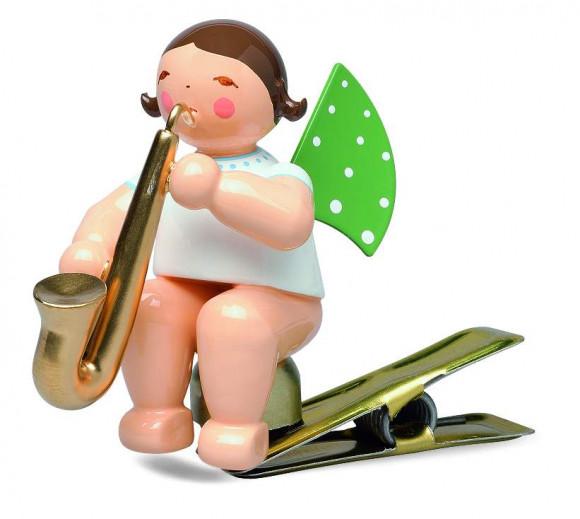 Engel mit Saxophon auf Klemme, blondes Haar