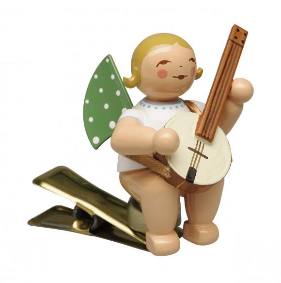 Engel mit Banjo auf Klemme, blondes Haar