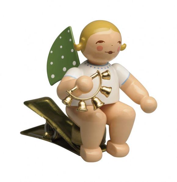 Engel mit Glockenkranz auf Klemme, blondes Haar