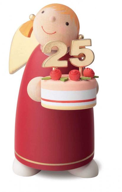 Schutzengel mit Torte, rot, 8 cm