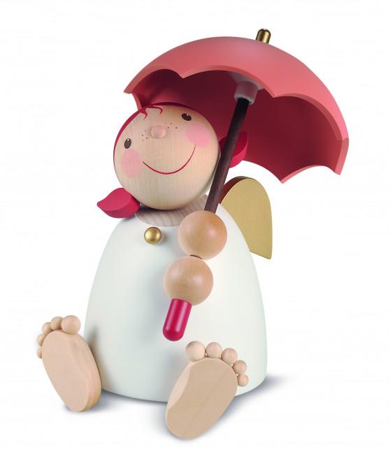 Schutzengel mit Schirm rotorange, groß