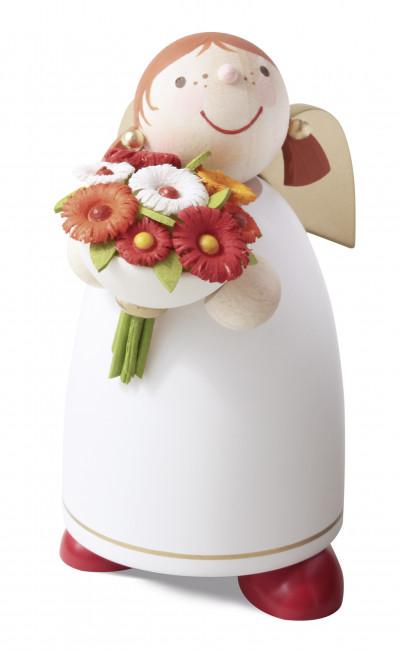 Schutzengel mit Blumenstrauß, weiß, 8 cm