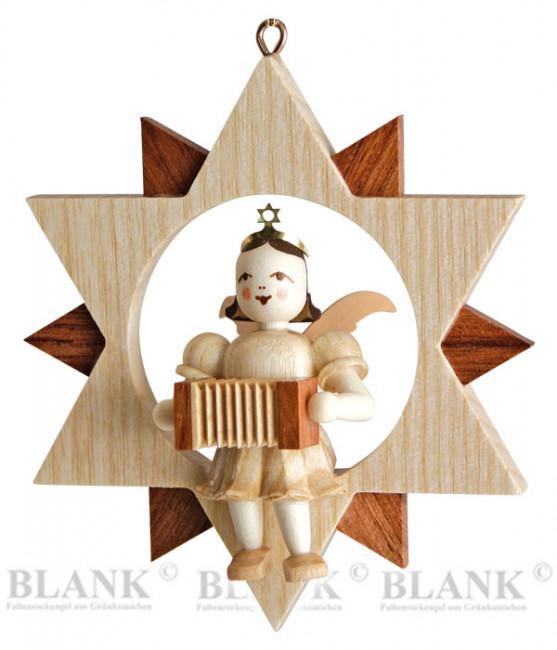 Engel sitzend mit Harmonika im Stern
