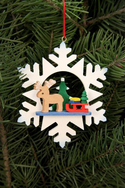 Baumbehang Schneeflocke Rentier mit Schlitten